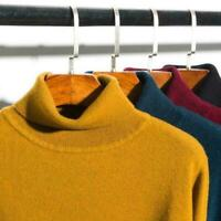 Men's Collar Cashmere Long Sleeve Winter Warm Sweater Turtleneck Pullover New