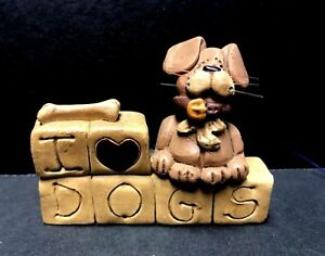 NEW Blossom Bucket I Love Dogs Resin Figure Primitive Country Deco Gift Heart
