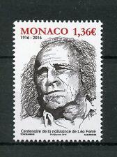 Monaco 2016 MNH Leo Ferre Birth Cent 1v Set Composers Poets Music Stamps