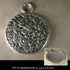 Antique Sterling Silver Repousse Floral HAND MIRROR Vanity Dresser STARR