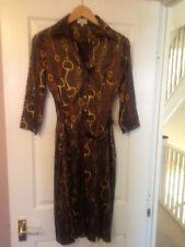 Rare sold out Karen Millen Brown Satin office dress UK size 8