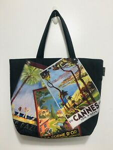 Lancome French Postcards Black Tote Bag with Green Interior