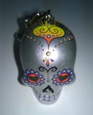 Skull Head Keyring Keychain  3D Candy Skull Day Of The Dead Sliver Coloured Eyes