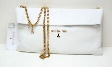 Patrizia Pepe Borsa Mini Clutch Bag Leather White Shoulder Strap Made in Italy