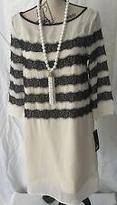 NEW Tommy Hilfiger TUNIC DRESS White Black Stripes 3/4 Sleeves Women's Sz M NWT