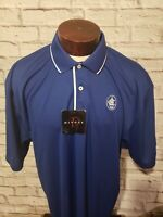 Divots Mens XL Extra Large Blue White Short Sleeve Golf Polo Shirt NEW