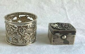 Two Chinese Silver Items-Dragon Napkin Ring & Enameled Box-NR