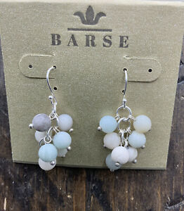 Barse Amazonite Beaded Cluster Earrings- Sterling Silver- NWT