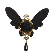 Lolita Girl Victorian Gothic Black Butterfly Brooch Breast Pin Lapel Pin Vintage