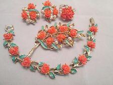 Vintage Pink Roses Celluloid Brooch Bracelet Earrings Ring Set Green Enamel