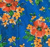 Vintage Flocked Dots Floral Voile Semi Sheer Fabric Blue Orange 3 yds x 43""