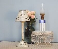 Vintage Mini Oil Lamp Stars & Stripes W/ Chimney Frosted & Clear Glass B10