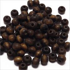 Lot de 100 perles rondes en Bois 6mm Marron foncé