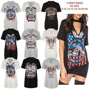 New Ladies Live Fast Ride Till We Die Vintage Top Choker Neck T-Shirt Mini Dress