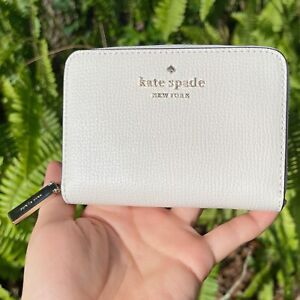 Kate Spade Darcy Small Zip Card Case Coin Wallet Parchment White Cream Leather