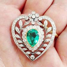 2.10ct Diamond Emerald 14k Yellow Gold Valentine Gift Bridal Brooch