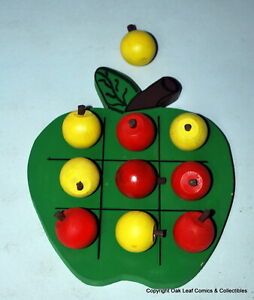 Wooden Apple Shaped Tic Tac Toe Game, 10 Painted Wood Apples red Yellow