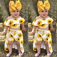 USA 3PCS Toddler Kids Baby Girl Sunflower Crop Tops Shorts Dress Outfits Sunsuit