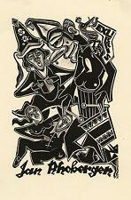 Music, Surrealistic Ex libris Bookplate by Cor de Wolff,  Netherland