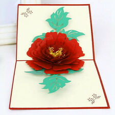 3D Pop Up Greeting Cards Peony Birthday Valentine Mother Day Christmas Gifts Kit