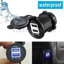 12-24V Car Cigarette Lighter Socket Outlet USB Charger Power Adapter w/ Blue LED