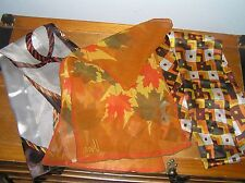 Vintage to NOW Lot of 3 VERO Signed Orange Brown & Cream Fall Leave Twisted Rope