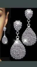 Clear Diamonte / Diamante Large Teardrop Pear Shape Long Drop Earrings - NEW!
