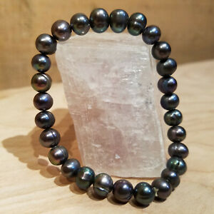 """Black Peacock Baroque 9mm Pearl Bracelet Genuine Fresh Water 3 1/2""""- Swanky Barn"""