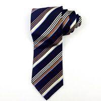 BRIONI Tie dis. 1S168 Black Brown Cream Striped 100% Silk HANDMADE IN ITALY