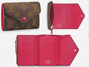 Louis Vuitton VICTORINE WALLET Trifold Unisex Monogram Red FUCHSIA Leather NEW