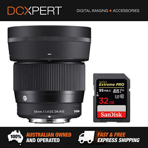 SIGMA 56MM F/1.4 DC DN CONTEMPORARY FOR SONY E-MOUNT (4351965) & 32GB SD CARD