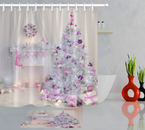 "72X72"" Pink Christmas Decoration Shower Curtain Liner Waterproof Bathroom Set"