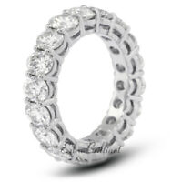 5 Carat I VS2 Round Cut Natural Certified Diamonds 18k White Gold Eternity Band