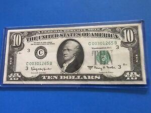 1963 A $10 Federal Reserve Note  C 00301265 B....Lot #6