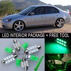 Green LED Interior Package Light Bulb 9X Kit For 2001 2005 Honda Civic + Tool J
