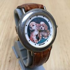 Vintage Brittania Men Dog puppy Dial Leather Analog Quartz Watch Hour~New Batter