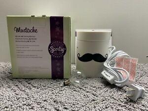 Scentsy Mustache Candle Scent Wax Warmer White with Black Design IOB