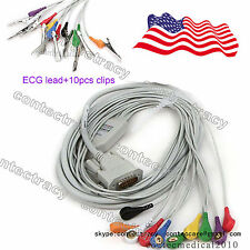 US STOCK! ECG cable Gilding snap Type for ECG machines,12 lead+10Piece vet clips