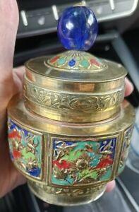 Chinese Brass Enamel  Lid Tea Caddy Snuff Jar