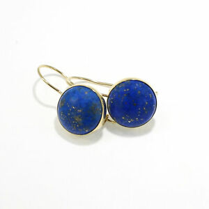 14K Solid Yellow Gold 12mm Blue Lapis Handmade Drop Earrings