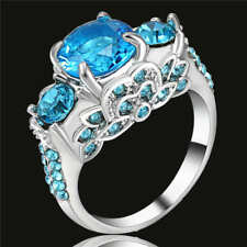 Claw Ring Size 7 Single Women's blue Crystal 18Kt White Gold Filled Engagement