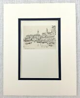 1901 Antico Incisione The Alexander Harbour Civita Vecchia Italia Joseph Pennell