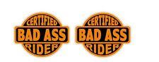 Certified Bad Ass Rider Sticker Decal Honda Harley Davidson Motorcycle Helmet V2