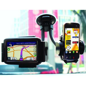 Universal Twin Double Car Windscreen Suction Dashboard Phone Holder Mount Stand