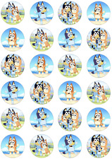 24 x BLUEY Edible Icing Cupcake Toppers Kids Birthday UNCUT Image