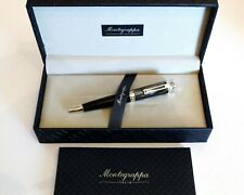 MONTEGRAPPA EMOZIONE BALLPOINT PEN IN CHARCOAL CELLULOID & SOLID SILVER 925 -NEW