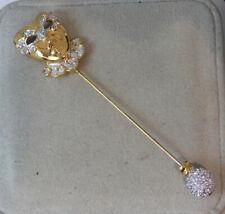 Swan Swarovski Crystal Masquerade Mask Mardi Gras Theatre Stick Pin Brooch 9j 47