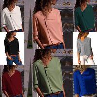 Womens Tops T-Shirts Chiffon Long Sleeve V Neck Loose Blouse Casual Summer