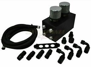 Pro Series Oil Catch Can For Honda Civic Acura Integra 4 Port -10AN With Hoses
