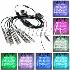 8Pcs LED Light Flexible Strip NEON Multi Color RGB Remote Kit Under Motorcycle